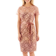 Jackie Jon Short-Sleeve Lace Sheath Dress