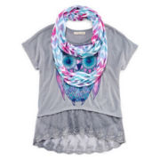 Self Esteem® Lace-Hem Dolman Top and Scarf - Girls 7-16 and Plus