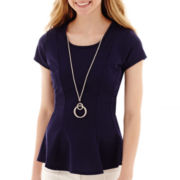 by&by Cap-Sleeve Geometric Textured Necklace Peplum Top