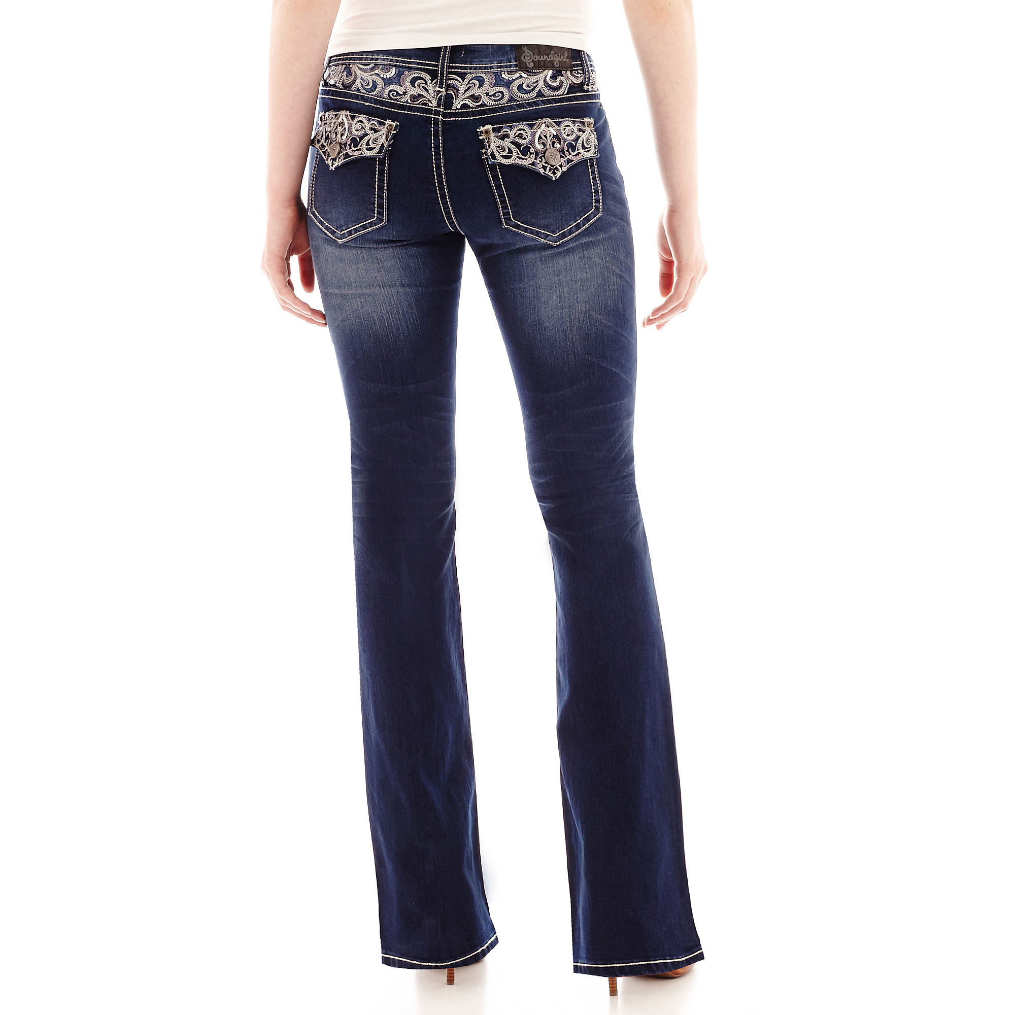 Upc soundgirl embroidered sequin bootcut