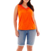 St. John's Bay® Crochet-Trim Tank Top or Bermuda Shorts - Plus