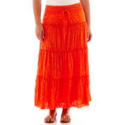 St. John's Bay® Crochet-Yoke Maxi Skirt - Plus