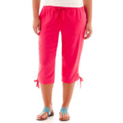 St. John's Bay® Linen-Blend Cargo Cropped Pants - Plus
