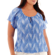 St. John's Bay® Short-Sleeve Print Blouse - Plus