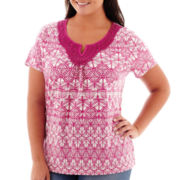 St. John's Bay® Short-Sleeve Crochet Knit Top - Plus