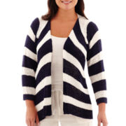 St. John's Bay® 3/4-Sleeve Chevron Flyaway Cardigan - Plus