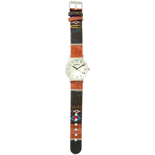 Olivia Pratt Womens Silver-Tone Faux Mop Dial Orange-Brown Patterned Fabric Strap Watch 10352Tr