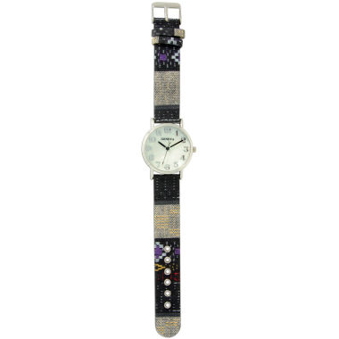 jcpenney.com | Olivia Pratt Womens Silver-Tone Faux Mop Dial Black-Grey Patterned Fabric Strap Watch 10352Tr