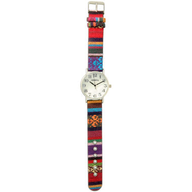jcpenney.com | Olivia Pratt Womens Silver-Tone Faux Mop Dial Red-Purple Patterned Fabric Strap Watch 10352Tr