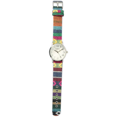 jcpenney.com | Olivia Pratt Womens Silver-Tone Faux Mop Dial Green-Orange Patterned Fabric Strap Watch 10352Tr
