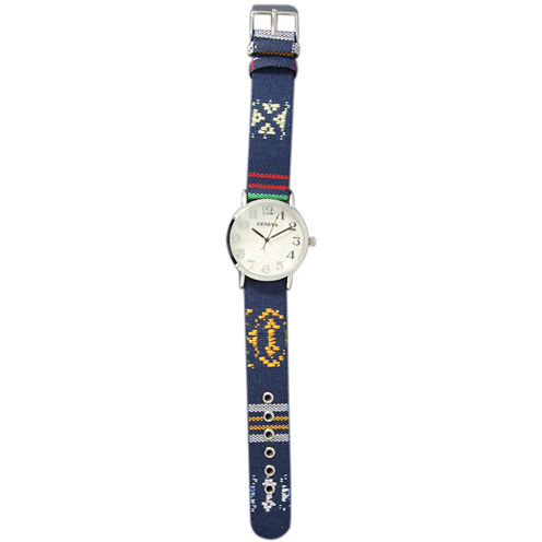 Olivia Pratt Womens Silver-Tone Faux Mop Dial Navy Patterned Fabric Strap Watch 10352Tr