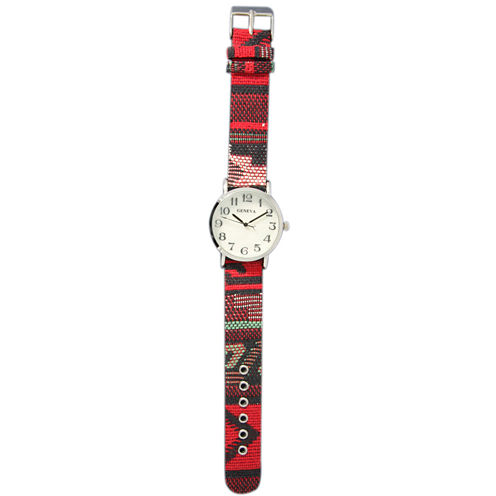 Olivia Pratt Womens Silver-Tone Faux Mop Dial Red Patterned Fabric Strap Watch 10352Tr