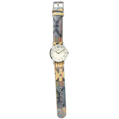 jcpenney.com | Olivia Pratt Womens Silver-Tone Faux Mop Dial Yellow-Grey Patterned Fabric Strap Watch 10352Tr