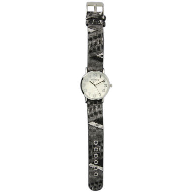 jcpenney.com | Olivia Pratt Womens Silver-Tone Faux Mop Dial Grey-Black Patterned Fabric Strap Watch 10352Tr