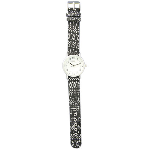Olivia Pratt Womens Silver-Tone Faux Mop Dial Black-White Patterned Fabric Strap Watch 10352Tr