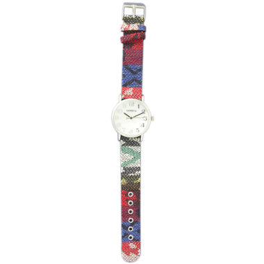 jcpenney.com | Olivia Pratt Womens Silver-Tone Faux Mop Dial Blue-Red Patterned Fabric Strap Watch 10352Tr