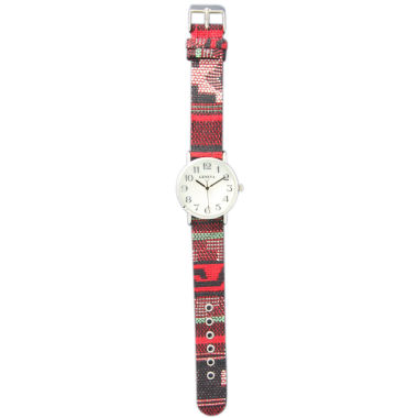 jcpenney.com | Olivia Pratt Womens Silver-Tone Faux Mop Dial Red-Grey Patterned Fabric Strap Watch 10352Tr