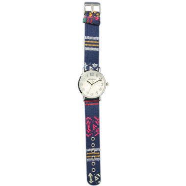 jcpenney.com | Olivia Pratt Womens Silver-Tone Faux Mop Dial Navy Patterned Fabric Strap Watch 10352Tr
