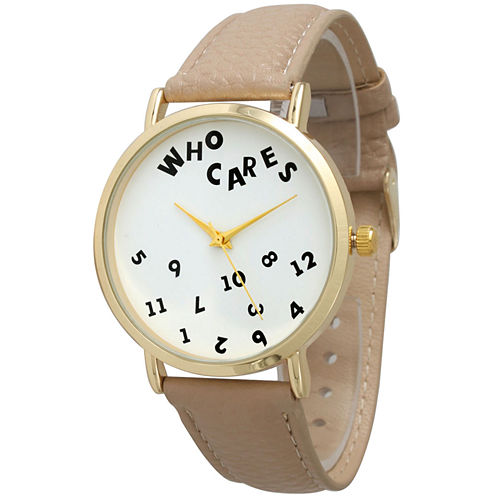 Olivia Pratt Womens Gold-Tone White Dial Taupe Leather Strap Watch 14164
