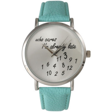 jcpenney.com | Olivia Pratt Womens Silver-Tone Aqua Leather Strap Watch 13569