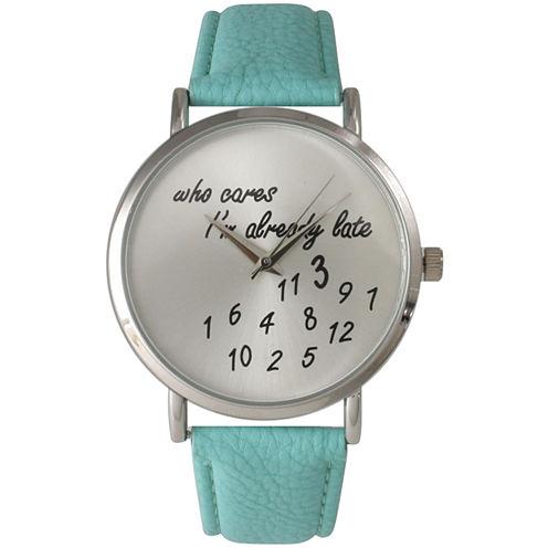 Olivia Pratt Womens Silver-Tone Aqua Leather Strap Watch 13569