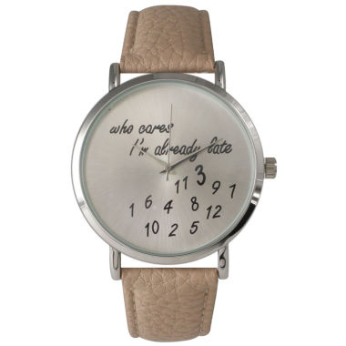 jcpenney.com | Olivia Pratt Womens Silver-Tone Beige Leather Strap Watch 13569