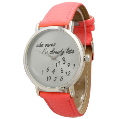 jcpenney.com | Olivia Pratt Womens Silver-Tone Coral Leather Strap Watch 13569