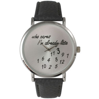 jcpenney.com | Olivia Pratt Womens Silver-Tone Dark Grey Leather Strap Watch 13569