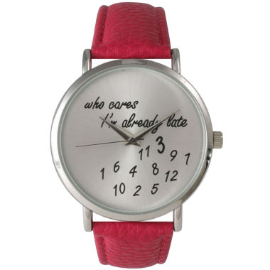 jcpenney.com | Olivia Pratt Womens Silver-Tone Hot Pink Leather Strap Watch 13569