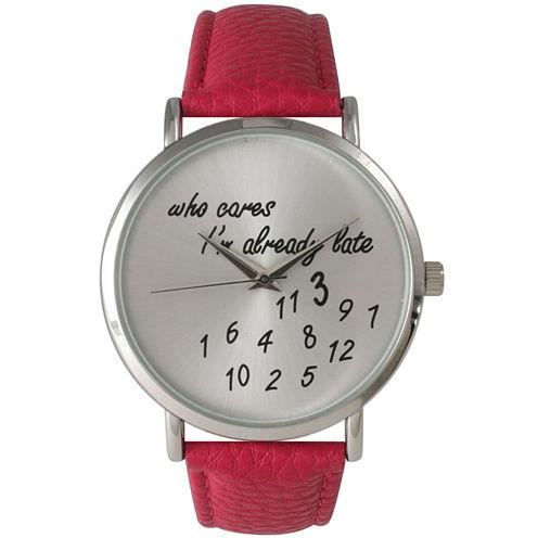 Olivia Pratt Womens Silver-Tone Hot Pink Leather Strap Watch 13569