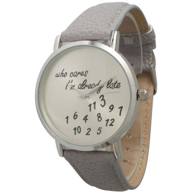 jcpenney.com | Olivia Pratt Womens Silver-Tone Light Grey Leather Strap Watch 13569