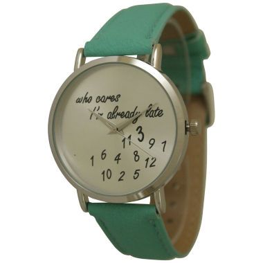 jcpenney.com | Olivia Pratt Womens Silver-Tone Mint Leather Strap Watch 13569