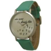 Olivia Pratt Womens Silver-Tone Mint Leather Strap Watch 13569