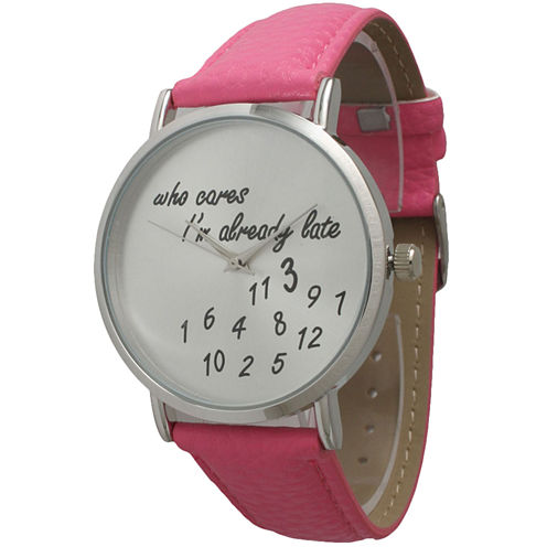 Olivia Pratt Womens Silver-Tone Pink Leather Strap Watch 13569