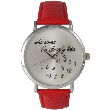 jcpenney.com | Olivia Pratt Womens Silver-Tone Red Leather Strap Watch 13569