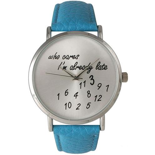 Olivia Pratt Womens Silver-Tone Turquoise Leather Strap Watch 13569