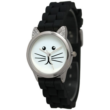 jcpenney.com | Olivia Pratt Womens Silver-Tone White With Black Cat Face Dial Black Silicone Strap Watch 13586