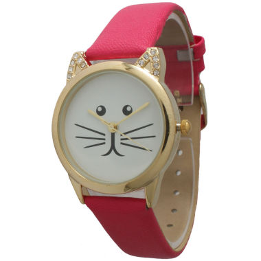 jcpenney.com | Olivia Pratt Womens Gold-Tone White With Black Cat Face Dial Hot Pink Leather Strap Watch 13586L