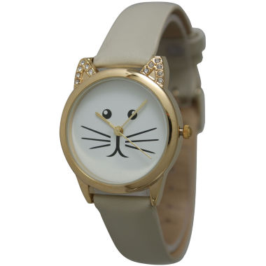 jcpenney.com | Olivia Pratt Womens Gold-Tone White With Black Cat Face Dial Cream Leather Strap Watch 13586L