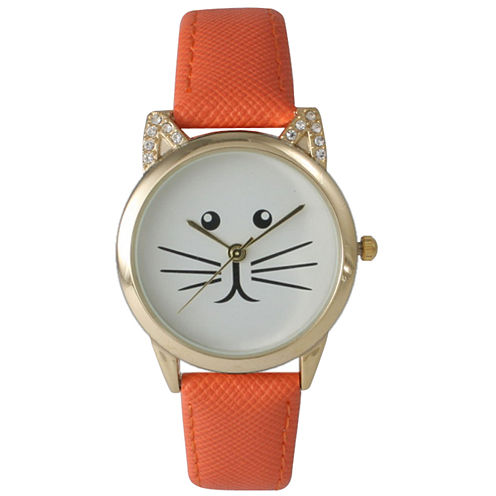 Olivia Pratt Womens Gold-Tone White With Black Cat Face Dial Orange Leather Strap Watch 13586L