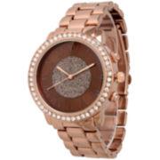 Olivia Pratt Womens Rhinestone Accent Coffee-Tone Bracelet Watch 13839