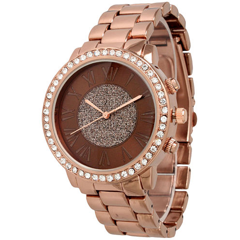 Olivia Pratt Womens Rhinestone Accent Coffee-Tone Bracelet Watch 13839
