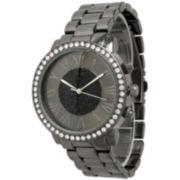 Olivia Pratt Womens Rhinestone Accent Gunmetal-Tone Bracelet Watch 13839