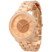 Olivia Pratt Womens Rhinestone Accent Rose Gold-Tone Bracelet Watch 13839