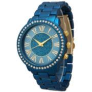Olivia Pratt Womens Rhinestone Accent Royal Blue Bracelet Watch 13839
