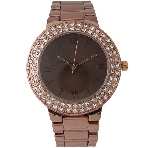 Olivia Pratt Womens Rhinestone Accent Coffee-Tone Bracelet Watch 14066