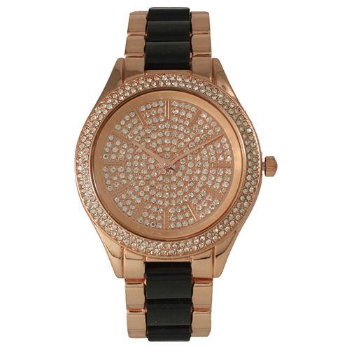 Olivia Pratt Womens Rhinestone Bezel Rhinestone Dial Rose Black Two Tone Bracelet Watch 15295