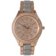 Olivia Pratt Womens Rhinestone Bezel Rhinestone Dial Rose Gray Two Tone Bracelet Watch 15295