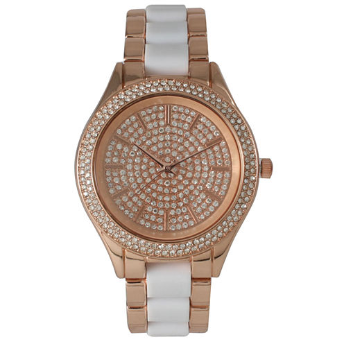 Olivia Pratt Womens Rhinestone Bezel Rhinestone Dial Rose Whitetwo Tone Bracelet Watch 15295