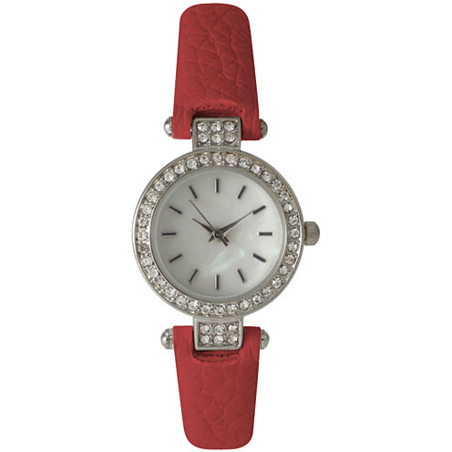 Olivia Pratt Womens Rhinestone Bezel Petite Red Leather Watch 14829
